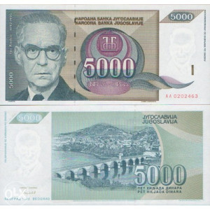 YU - 5.000 dinara - 1992 - UNC